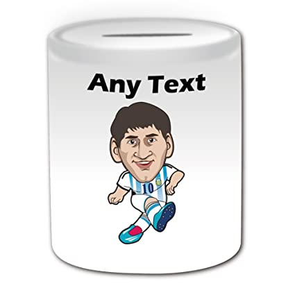 Regalo personalizado – Leo Messi caja de dinero (estrella de fútbol diseño tema, blanco