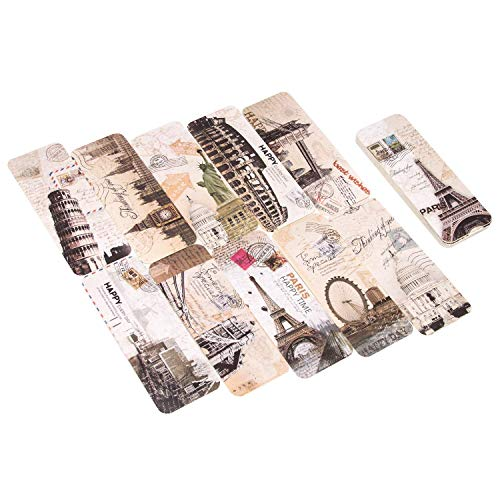 AIEX 30 Bookmarks Bulk Set European Travel Vintage Style Retto Cardstock Bookmarks for Women and Men,with Eiffel Tower, Paris, Rome, London & More