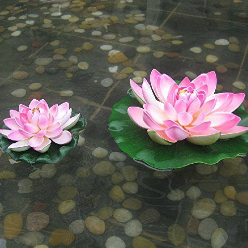 2-Pack-Artificial-Floating-Foam-Lotus-Flower-Pond-Decor-Water