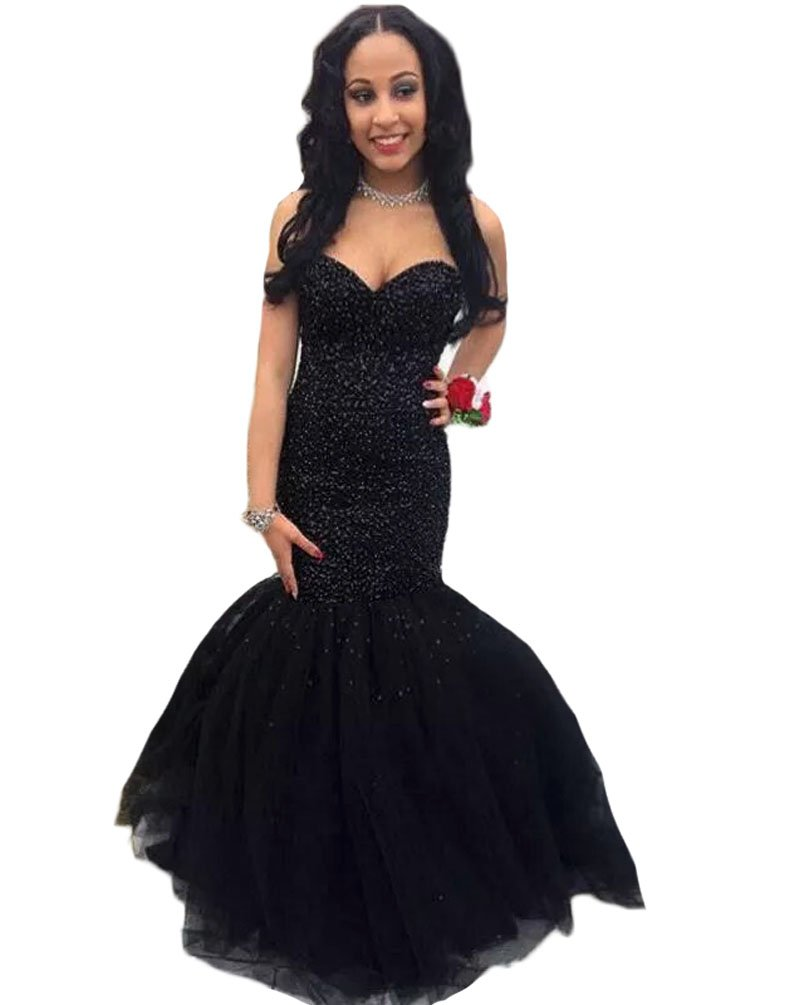 TBGirl Mermaid Heavy Beads Sequin Prom Dresses Sweetheart Long Evening Gown