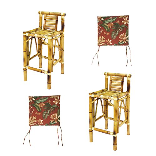 - RAM Gameroom Set of Two Bamboo Tiki Bar Stools with Burgundy Cushions