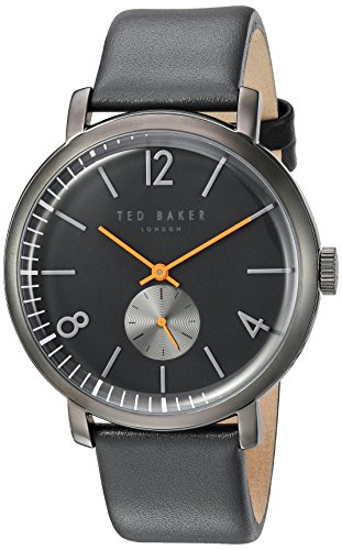 Ted Baker Men's 'OLIVER' Quartz Stainless Steel and Leather Dress Watch, Color:Grey (Model: 10031517)