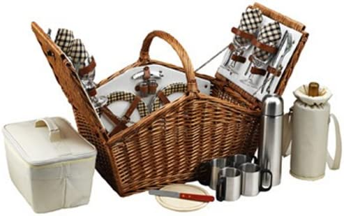 Picnic at Ascot Huntsman English-Style Willow Picnic Basket with Service for 4 and Coffee Set – London Plaid