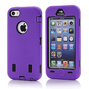 Shining Gold 3 part Defender Impact Hybrid Hard/Skin Rubber Case Cover for Iphone 5C, Purple