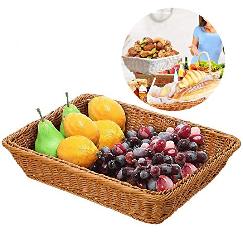 Extra Large Poly-Wicker Bread Basket Rectangle Imitation Rattan for Food Serving Restaurant/Kitchen/Coffee Table Diplay Decor Baskets Fruit Snacks Container-2 Pack (16