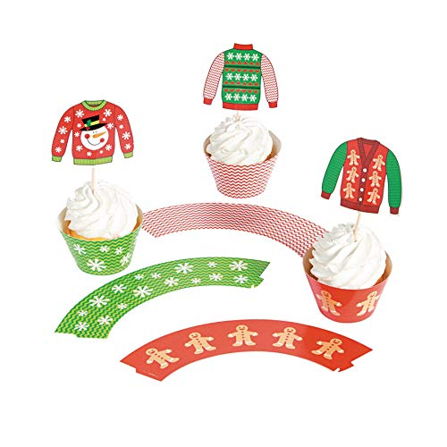 Fun Express Ugly Christmas Sweater Cupcake Wrappers with Picks - Makes -