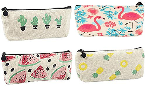 Blue Panda Pencil Bags- Set of 4 Pencil Pouch Organizers for Home and Office, Ideal for Students, Travel Cosmetic Makeup Bag for Women, 4 Designs, 8 x 3.5 x 1 Inches