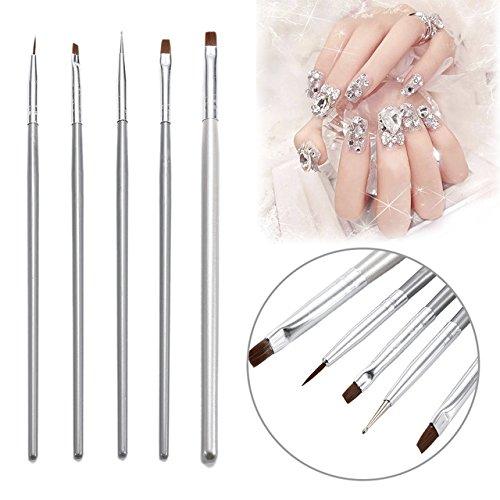 Nail Art Brush - 5 Pieces/Set Painting Silver Brush Nail Art UV Gel 3D Manicure Design Draw Paint Pen Non-Corroding Nail Polish Builder Manicure Tool