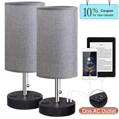 Lifeholder Table Lamps, Gray Nightstand Lamp Built in Dual USB Charging Port & A Power Outlet, Cylinder Desk Lamps Perfect for Bedroom, Living Room or Office(2 Packs) ()