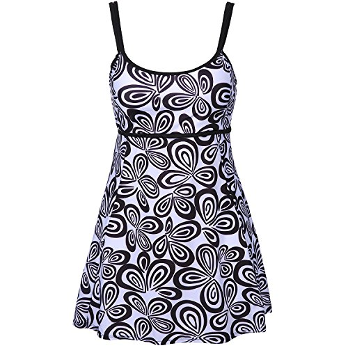 - Xflyee Women's Two Piece Plus Size Halter Floral Printed Top Swimsuit Tankini Set (XXL)