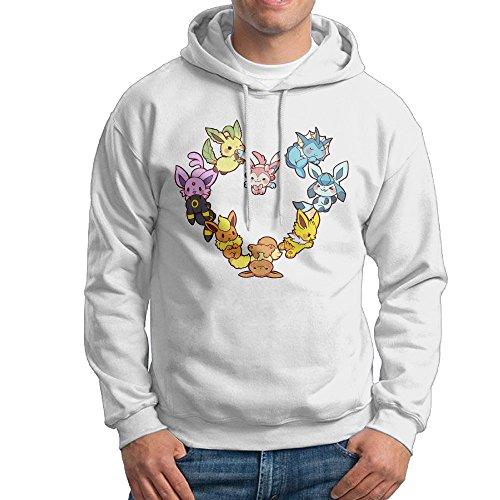 UFBDJF20 Eevee Family Heart Men's HoodiesWhite XL
