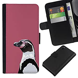 All Phone Most Case / Oferta Especial Cáscara Funda de cuero Monedero Cubierta de proteccion Caso / Wallet Case for Sony Xperia Z3 D6603 // Lilac Penguin
