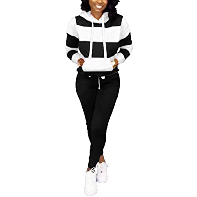 ThusFar Women's Casual Two Piece Outfits Stripes Sweatsuit Tracksuit Kangaroo Pocket Hoodies Sweatshirt Drawstring Pants at Women's Clothing store