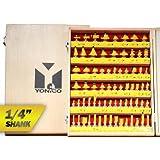 Yonico 17702q 70 Bits Professional Quality Router Bit Set Carbide 1/4-Inch Shank