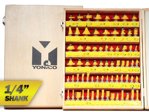 Yonico 17702q 70 Bits Professional Quality Router Bit Set Carbide 1/4-Inch Shank by Yonico