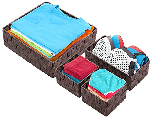 Sorbus Storage Box Woven Basket Bin Container Tote Cube Organizer Set Stackable Storage Basket Woven Strap Shelf Organizer (Woven Basket Set - 4 Piece, Chocolate)