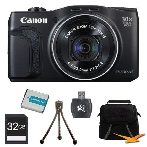 PowerShot SX700 HS 16.1MP HD 1080p Digital Camera Black 32GB Kit Includes Camera, memory card, battery, gadget bag, card reader and mini tripod