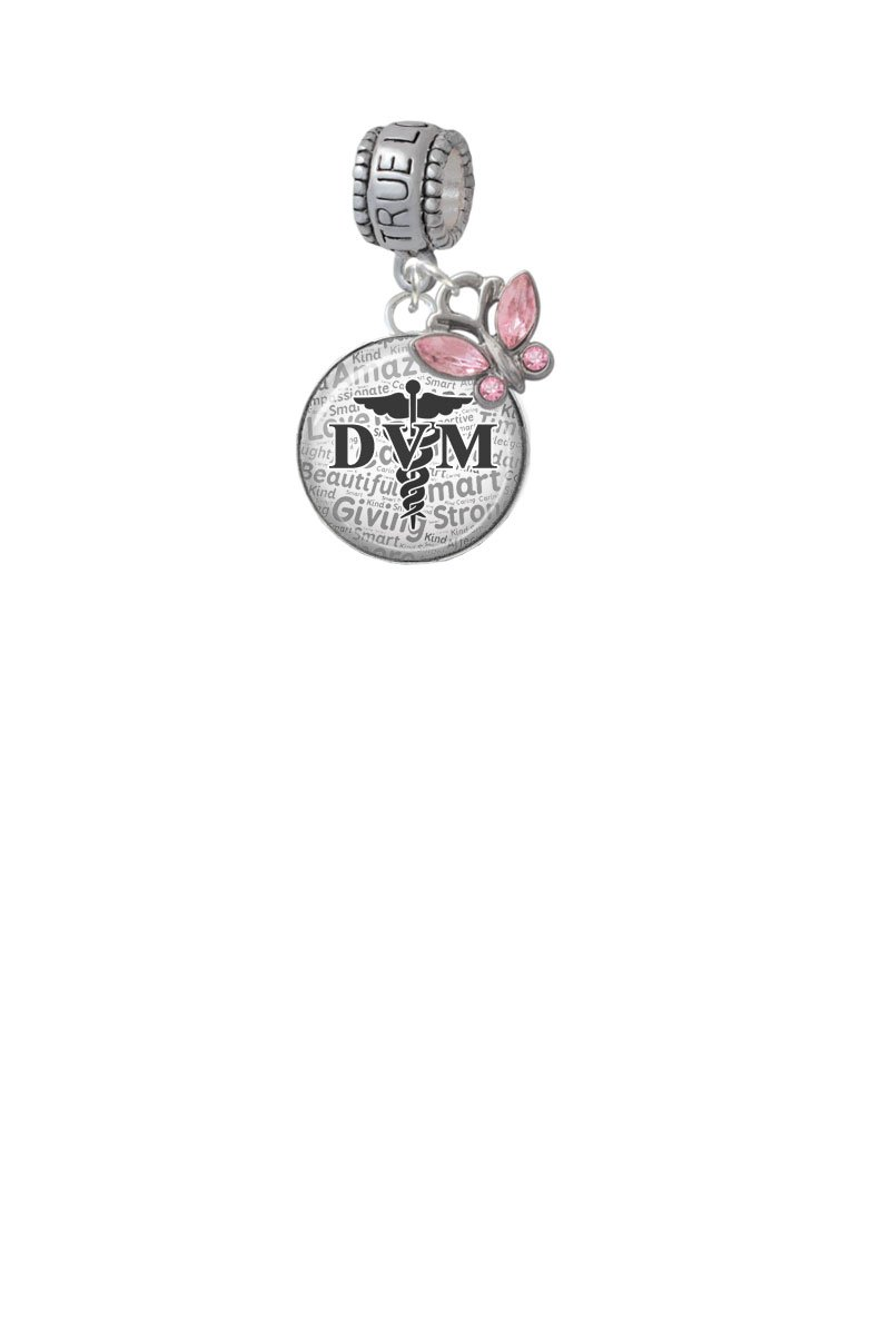 Domed Black DVM True Love Waits Charm Hanger with Mini Pink Butterfly