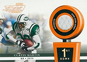 Autograph Warehouse 343168 Curtis Martin Player Worn Jersey Patch Football Card - New York Jets 2002 Playoff Piece of the Game No. POG11