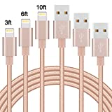 Sundix iPhone Cable, 3Pack 3FT 6FT 10FT Nylon Braided Cord Lightning Cable Certified to USB Charging Charger Compatible with iPhone 7/7 Plus/6/6S/6S Plus,SE/5S/5,iPad,iPod Nano 7(Gold)