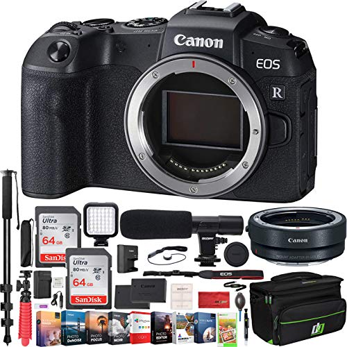 Canon EOS RP Full-Frame Mirrorless Digital Camera Body Only with EF-EOS R Lens Adapter and Deco Gear Case Extra Battery Kit 128GB Memory Microphone 72