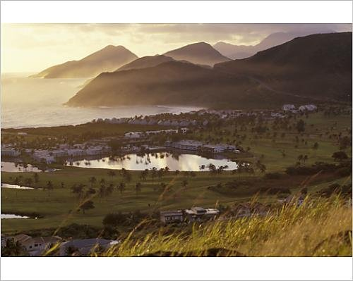 North Frigate Bay - 10x8 Print of Caribbean, St. Kitts. North Frigate Bay golf course and hotels at sunrise (11095984)