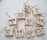 10 pc Assorted Face Squishy Toast Bread Phone Charm Set