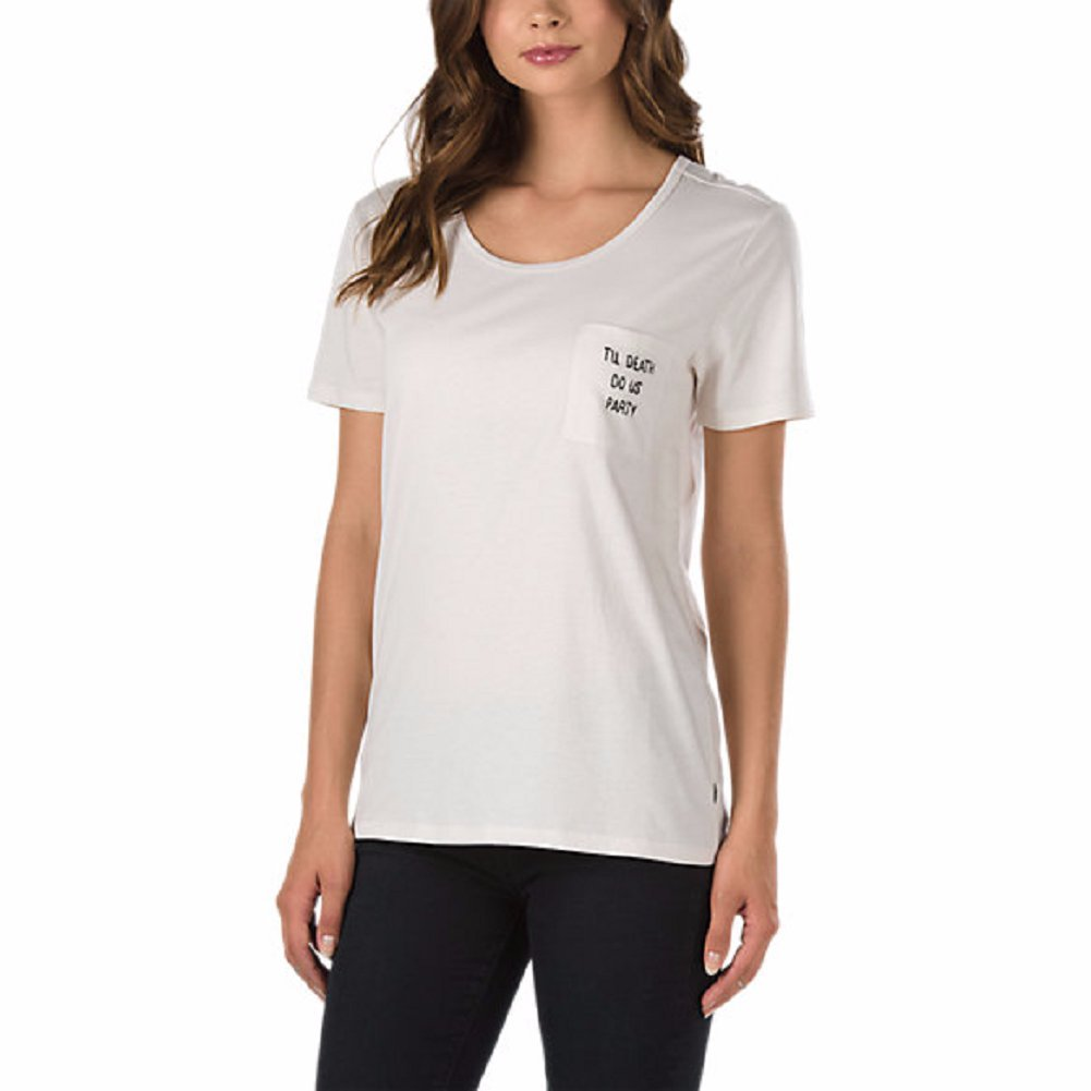 07bf7e47cc Amazon.com  Vans Women s Holidazed Pocket T-Shirt White Sand X-Small   Clothing