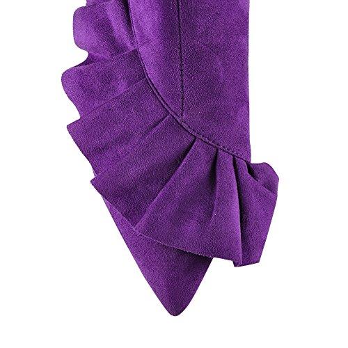 Damen Kurzschaft Stiefeletten Spitze Zehen Lammfell Fellsamt mit Spitze Violett