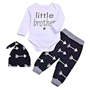 SWNONE 3pcs/Set Newborn Baby Boys Little Brother Long Sleeve Romper Bodysuits+Arrow Long Pants Hat Outfits Clothes (0-6 Months)