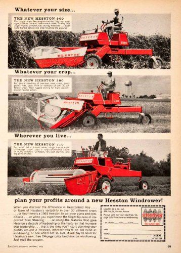 1965 Ad Hesston Windrower Kansas Crop Machinery Farm Farming Agriculture Hay - Original Print Ad from PeriodPaper LLC-Collectible Original Print Archive