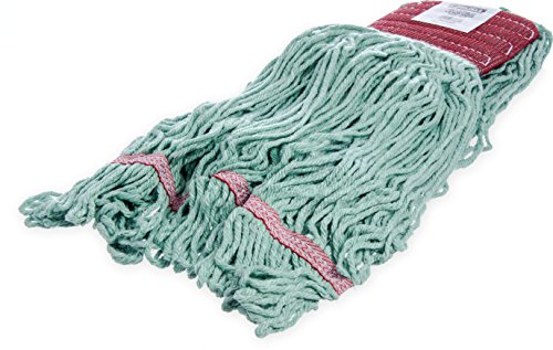 Carlisle 369484B09 Looped-End Premium Mop Head With Red Band, Large, Green (Pack of 12)