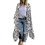Cardigan Womens Tops Leopard Print Kimono Long Shawl Loose Outwear