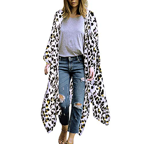 Lambswool Shawl Collar - Cardigan Womens Tops Leopard Print Kimono Long Shawl Loose Outwear