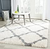 Safavieh Montreal Shag Collection SGM866B Ivory and Grey Area Rug (6'7″ x 9'6″) For Sale