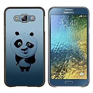 Sushi lindo Panda- Metal de aluminio y de plástico duro Caja del teléfono - Negro - Samsung Galaxy E7 / SM-E700