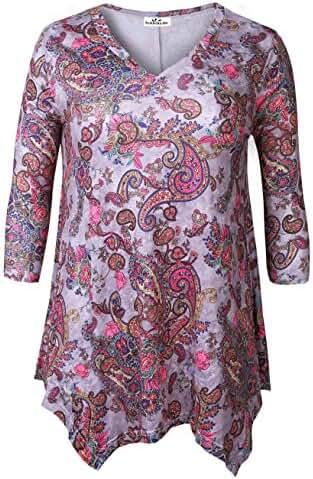 Zerdocean Women's Plus Size Printed 3/4 Sleeve Tunic Top Loose Shirt