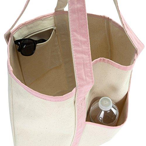 DALIX Women's Cotton Canvas Tote Bag Large Shoulder Bags Pink Monogram G by DALIX (Image #8)