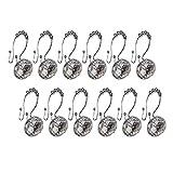 Xshelley Acrylic Diamond Shower Curtain Hooks Rings - Cute Crystal Gems Bling Rhinestones Bath Bathroom Accessories Set of 12pcs (Double Glide White)
