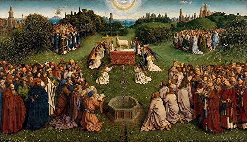 - Berkin Arts Jan Van Eyck Giclee Canvas Print Paintings Poster Reproduction Large Size(The Ghent Altarpiece Adoration The Mystic Lamb)