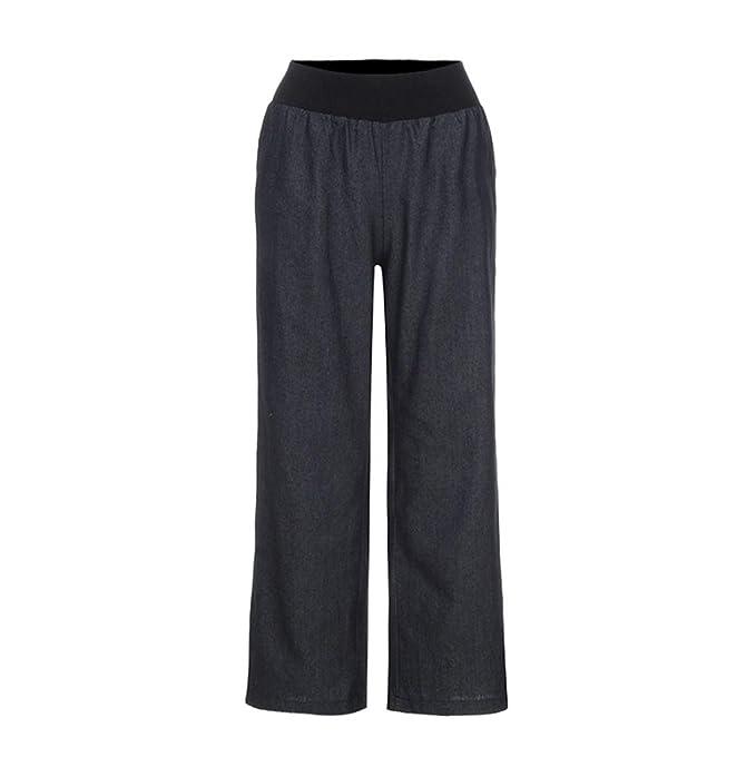 Sannysis Mujer Casual Cintura alta Elasticidad Pantalones anchos Pantalones vaqueros,Mujer Ancho Pierna Cintura Alta Elástica Holgados Flojos Suave Casual ...