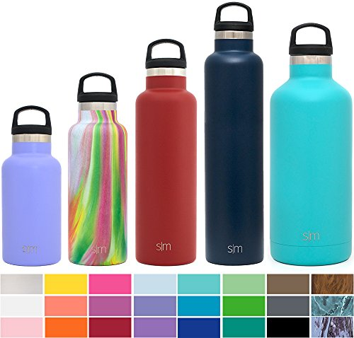 Simple Modern 32 Ounces Ascent Water Bottle - Vacuum Insulated Standard Mouth Hot & Cold Thermos 18/8 Stainless Steel Teal Swell Flask - Double Wall Hydro Travel Mug - Caribbean