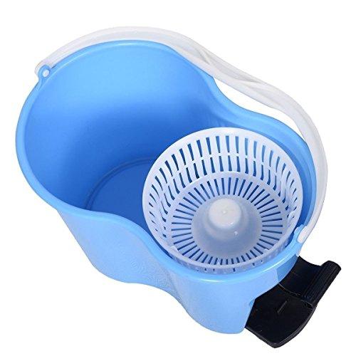 Felji Microfiber Spin Mop Easy Floor Mop with Bucket and 2 Heads