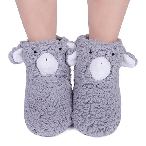 ChicNChic Womens Warm Cute Bear Boot Slipper Socks Cozy Non Slip 3D Cartoon Floor Bootie Socks Christmas Gift (One Size, Grey (Floor 3 On 100 Floors Halloween)