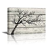 "master bathroom pictures wall26 - Canvas Prints Wall Art - Artistic Tree with Leaves in Black and White on Vintage Wood Background Rustic Home Decoration - 16"" x 24"""