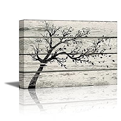 Artistic Tree with Leaves in Black and White on Vintage Wood Background Rustic, Created By a Professional Artist, Gorgeous Handicraft
