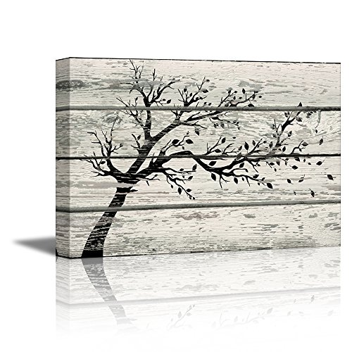 wall26 – Canvas Prints Wall Art – Artistic Tree with Leaves in Black and White on Vintage Wood Background Rustic Home Decoration – 12″ x 18″
