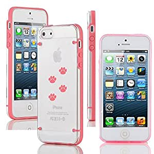 """Apple iPhone 6 Plus (5.5"""") Ultra Thin Transparent Clear Hard TPU Case Cover Paw Prints Walking (Pink)"""