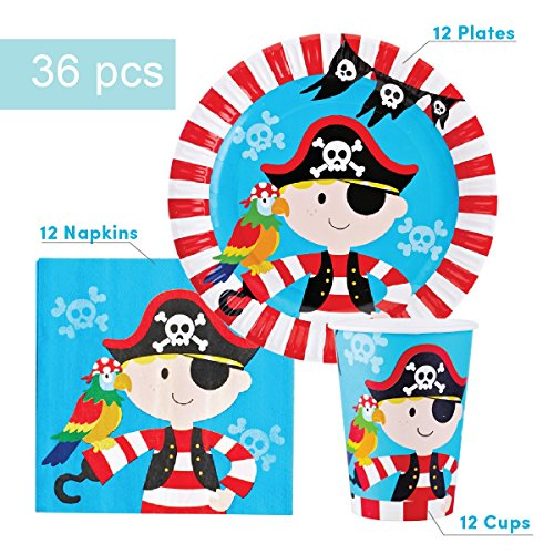 Pirate Party Supplies Set for 12 - Includes 36 pcs Total: 12 Cups, 12 Plates, 12 Napkins