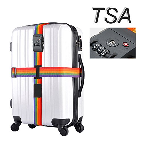Westonetek Adjustable Luggage Strap Long Cross Design Travel Suitcase Belt with 3 Dial TSA Approved Combination Lock for Airport Security and Baggage, Rainbow Straps